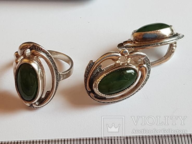 Набор кольцо + серьги. Серебро 925 проба. Размер кольца 18, фото №3