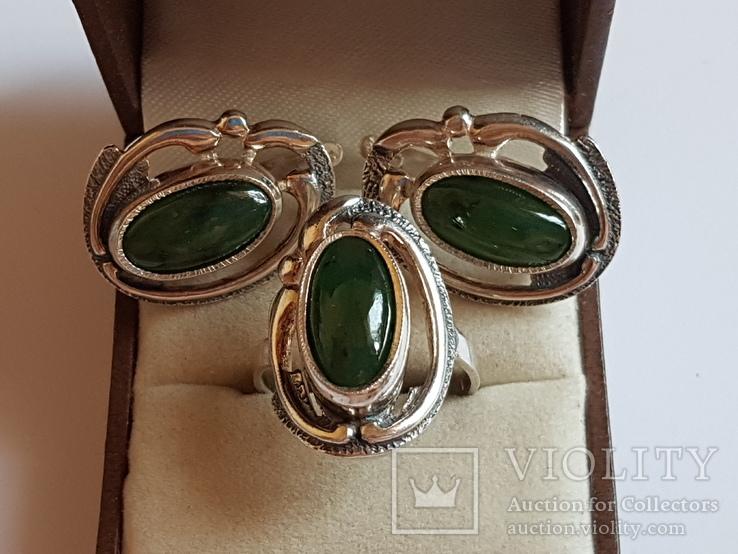 Набор кольцо + серьги. Серебро 925 проба. Размер кольца 18, фото №6
