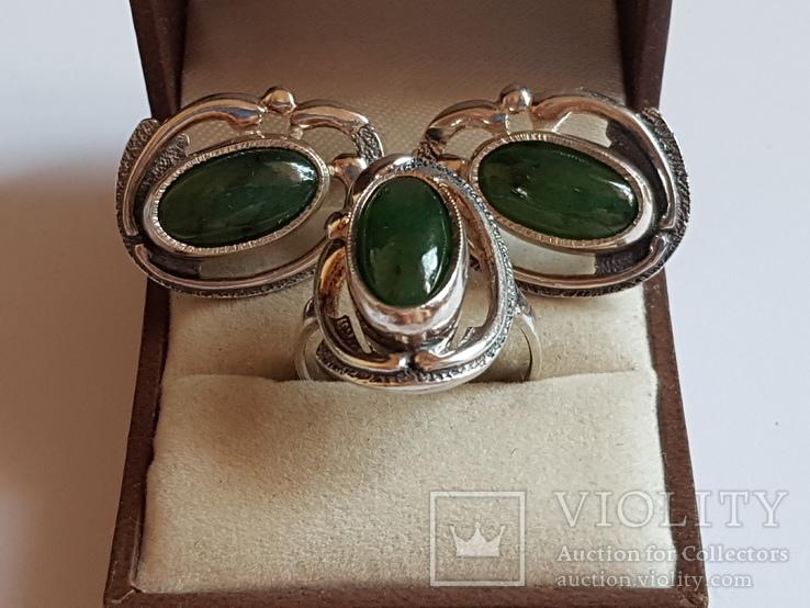 Набор кольцо + серьги. Серебро 925 проба. Размер кольца 18, фото №7