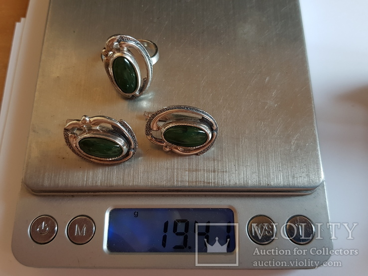 Набор кольцо + серьги. Серебро 925 проба. Размер кольца 18, фото №10