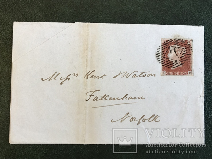 Красный пенни на письме Великобритании