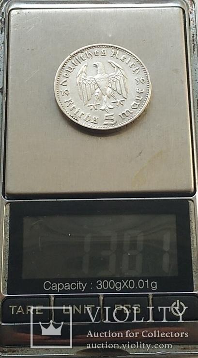 Монета 5 МАРОК 1936 року, срібло., фото №4