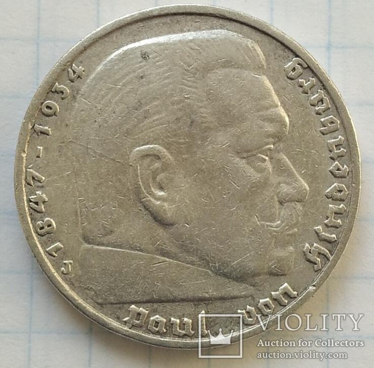 Монета 5 МАРОК 1936 року, срібло., фото №6
