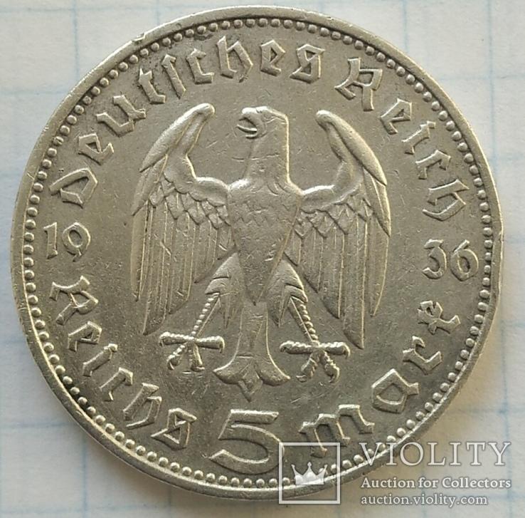 Монета 5 МАРОК 1936 року, срібло., фото №7