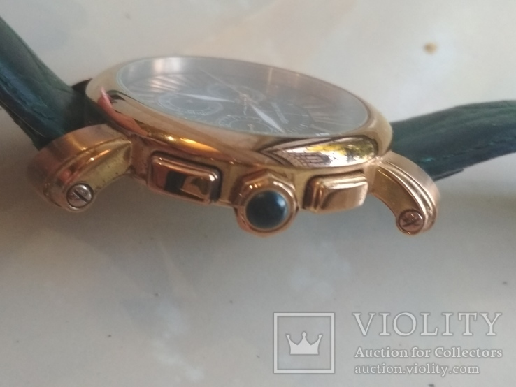 Часы наручные Зеленый браслет под золото, фото №5