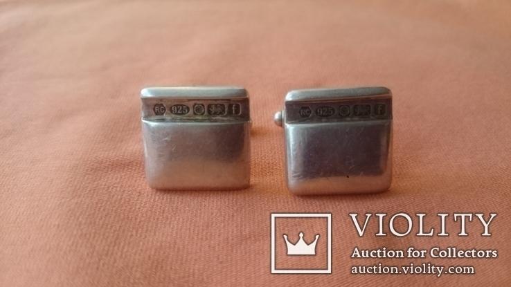 Запонки серебро 925 проба (Англия), фото №4