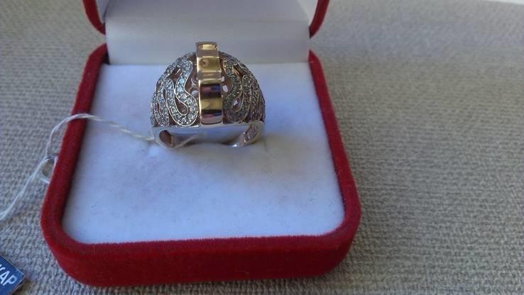 Кольцо золото 585, вставки цирконы., фото №6
