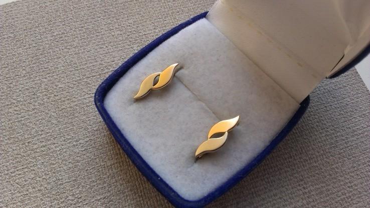 Серьги   золото 583, проба СССР со звездой., фото №3
