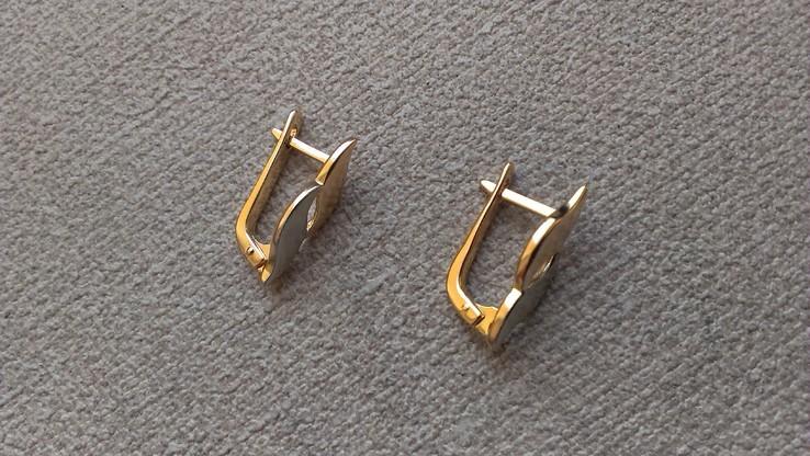 Серьги   золото 583, проба СССР со звездой., фото №6