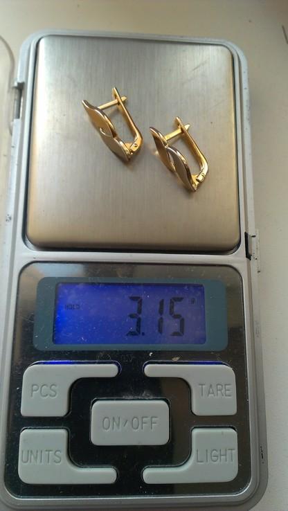 Серьги   золото 583, проба СССР со звездой., фото №7