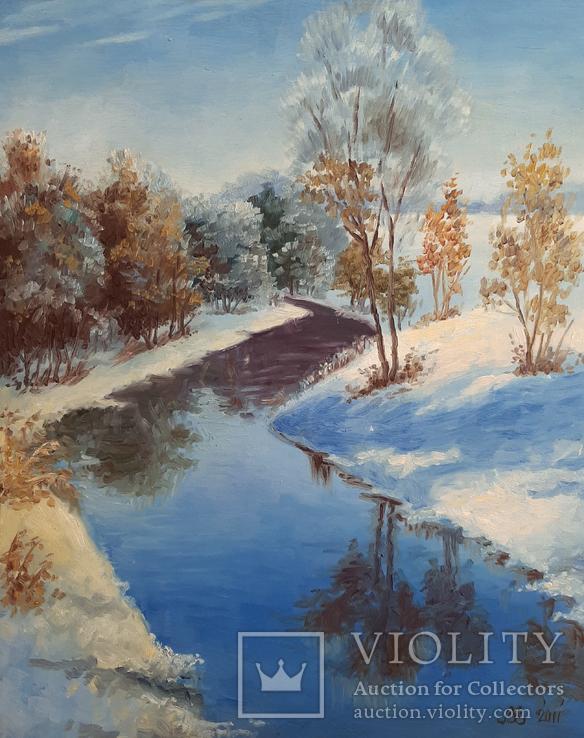 Зимний пейзаж 50х61 см, двп/масло 2011 г.