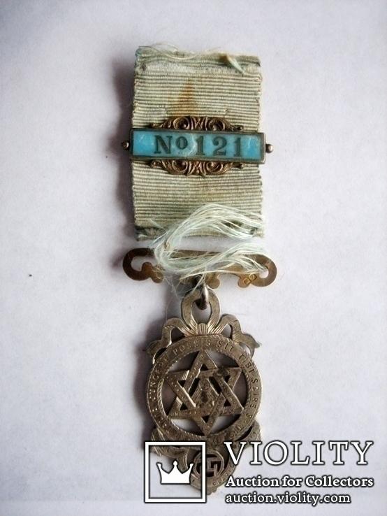 Старий масонський знак 121  (срібло), фото №2