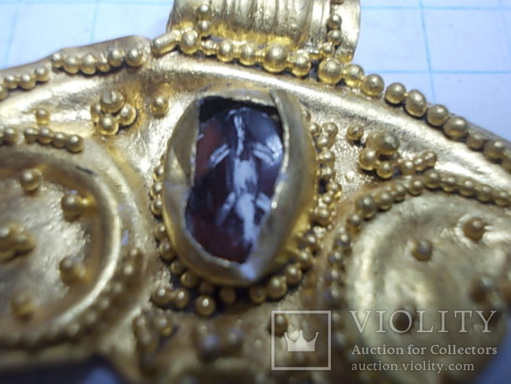 Лунница чк золото с камнем, фото №4