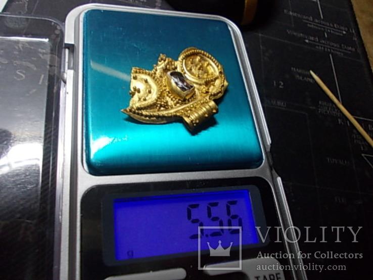 Лунница чк золото с камнем, фото №5