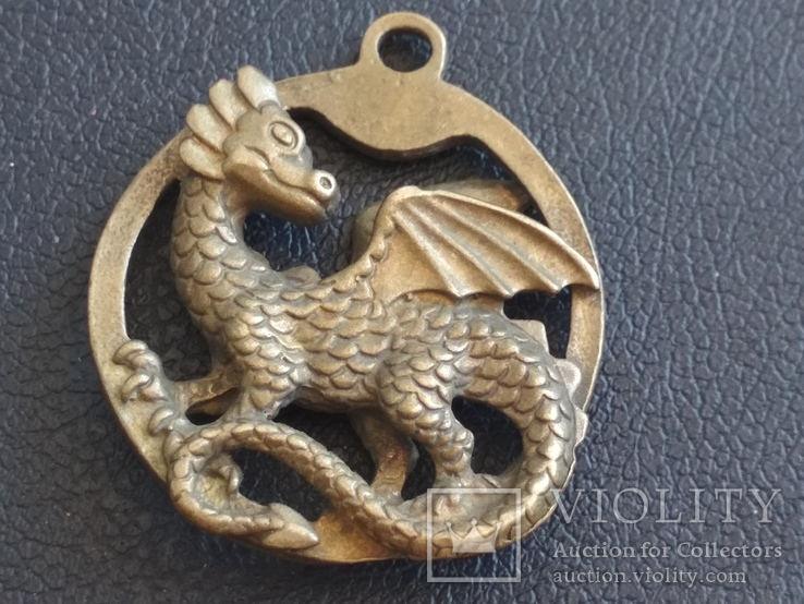 Дракон Грифон коллекционная миниатюра брелок кулон бронза, фото №3