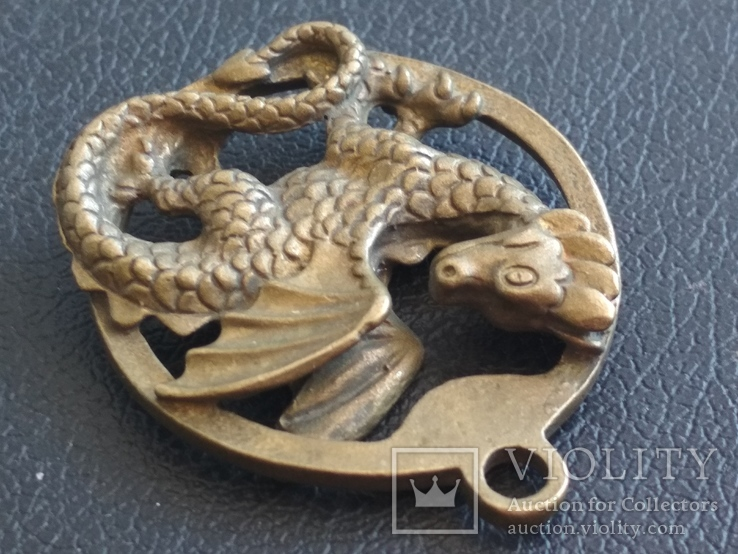 Дракон Грифон коллекционная миниатюра брелок кулон бронза, фото №6