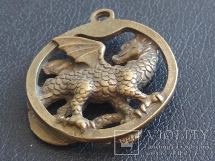 Дракон Грифон коллекционная миниатюра брелок кулон бронза, фото №8