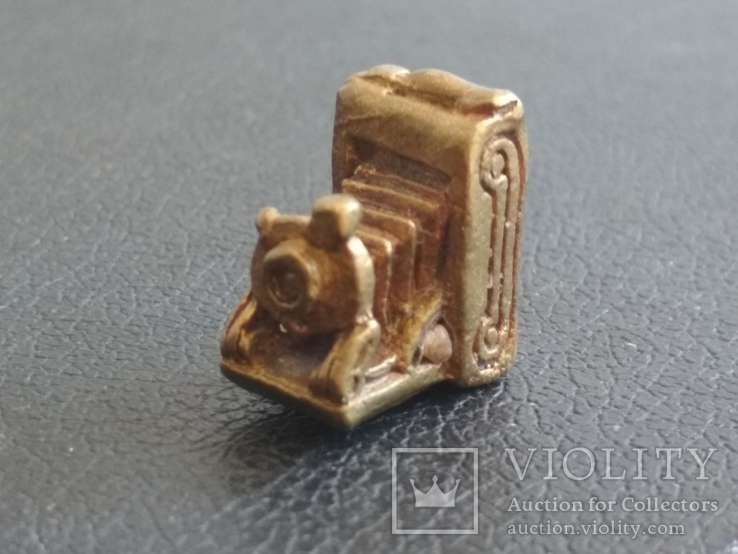 Фотокамера старинная бронза брелок коллекционная миниатюра, фото №7