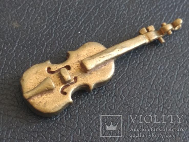Скрипка бронза коллекционная миниатюра
