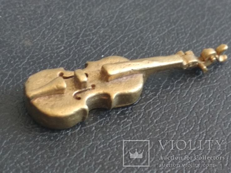 Скрипка бронза коллекционная миниатюра, фото №3
