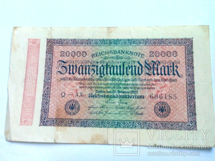 20 000 марок 1923 г. Германия Веймар., фото №2