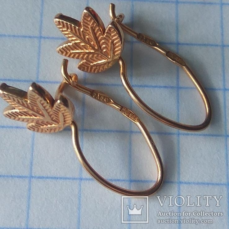 Золотые сережки листочки, фото №5