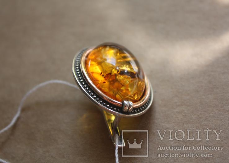 Серебряные серьги с янтарем и золотом, фото №7