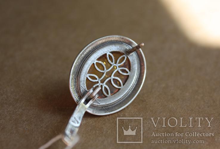 Серебряные серьги с янтарем и золотом, фото №10