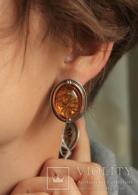 Серебряные серьги с янтарем и золотом, фото №11