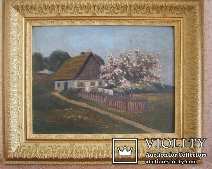 """Худ. (А-?В-?П-? Л-вь ) - """"Околиця села"""" - 19століття, фото №3"""