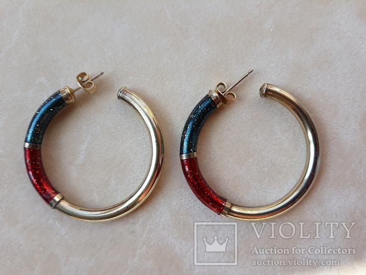 Серебряные серьги-кольца с эмалями, фото №4