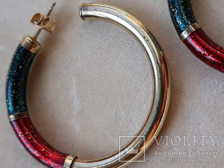 Серебряные серьги-кольца с эмалями, фото №6