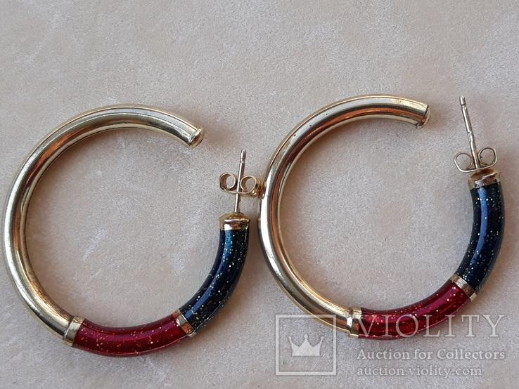 Серебряные серьги-кольца с эмалями, фото №7