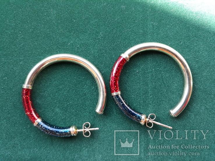 Серебряные серьги-кольца с эмалями, фото №13