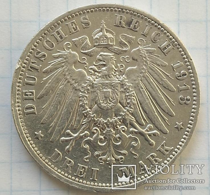 Монета ТРИ МАРКИ 1913 года. Серебро., фото №7