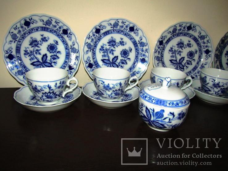 Сервиз тарелки чашки блюдца сахарница молочник синий лук Zwiebelmuster клеймо Германия, фото №3