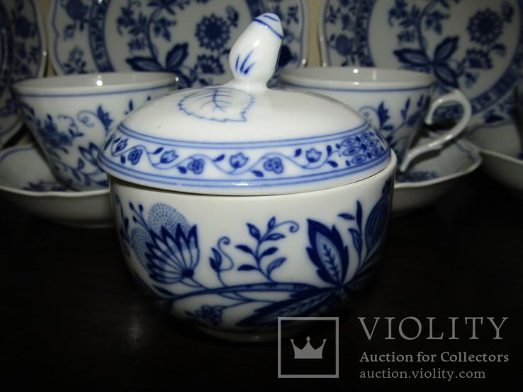 Сервиз тарелки чашки блюдца сахарница молочник синий лук Zwiebelmuster клеймо Германия, фото №5