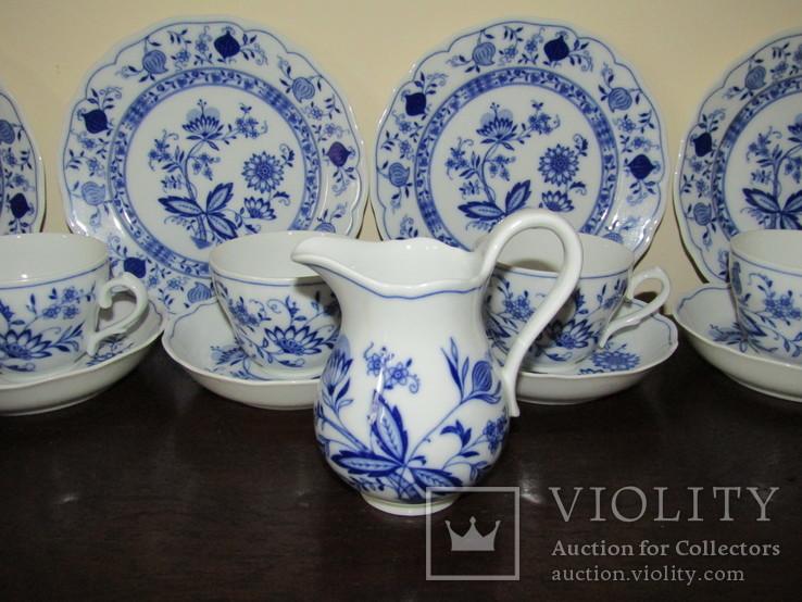 Сервиз тарелки чашки блюдца сахарница молочник синий лук Zwiebelmuster клеймо Германия, фото №9
