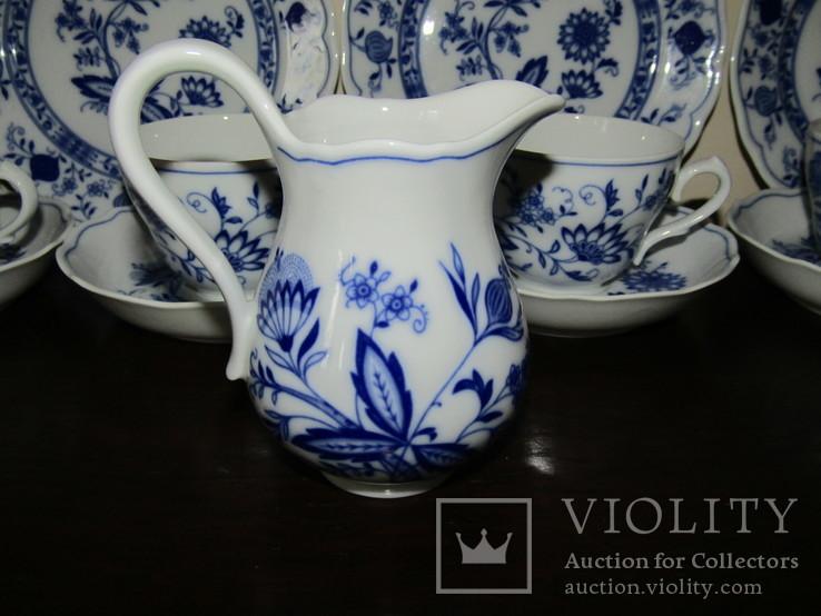 Сервиз тарелки чашки блюдца сахарница молочник синий лук Zwiebelmuster клеймо Германия, фото №10