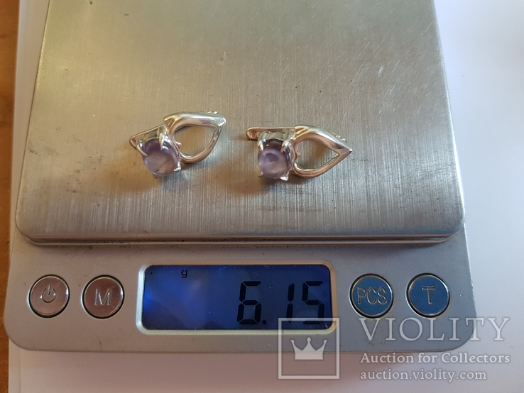 Серьги серебро 925 проба. Вес 6.15 г., фото №6