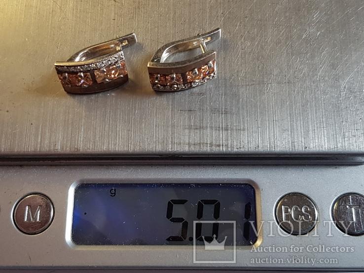 Серьги серебро 925 проба. Вес 5 г., фото №7
