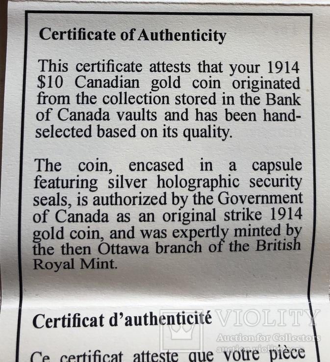 10$ 1914 год Канада золото 16,72 грамма 900', фото №9
