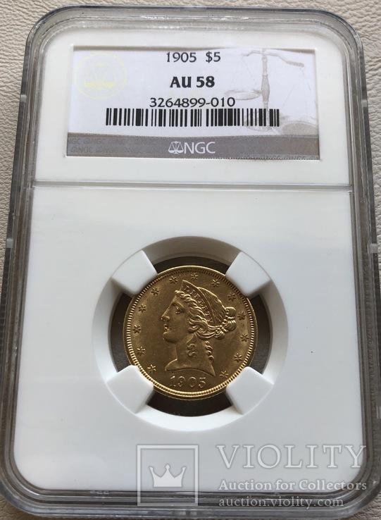 5 $ 1905 год США золото 8,35 грамм 900'