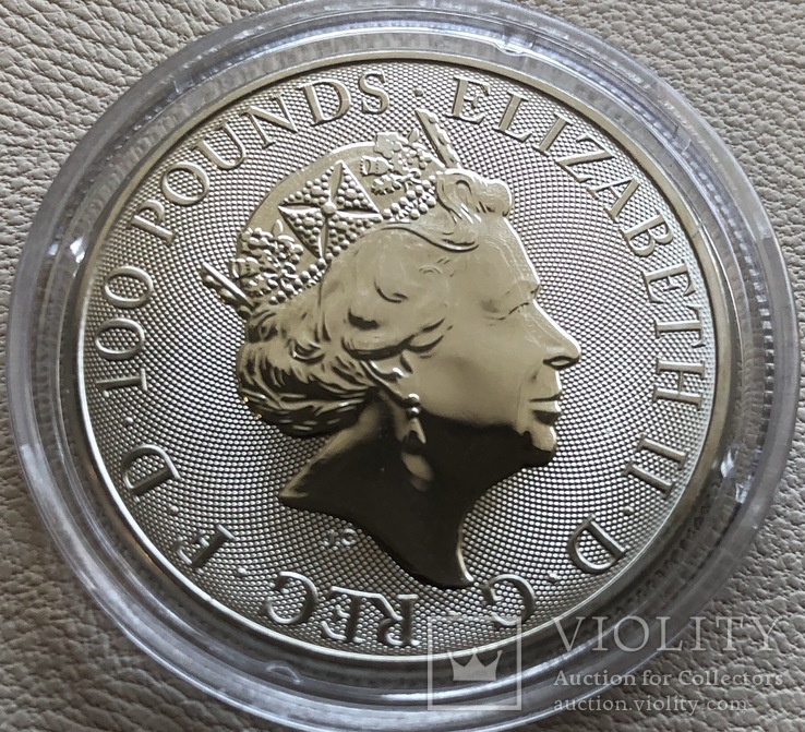 100 фунтов 2019 год Англия платина 31,1 грамм 999,5', фото №3