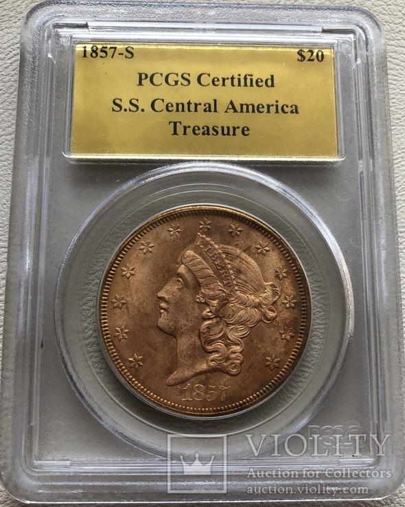 20 $ 1857-S года США монета с затонувшего корабля, фото №2
