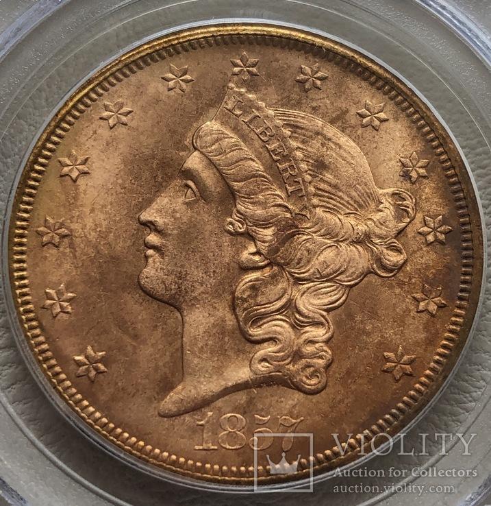 20 $ 1857-S года США монета с затонувшего корабля, фото №4