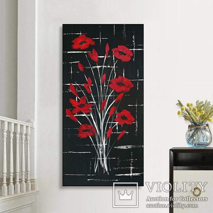Красные цветы (масло/холст) 40х80 см