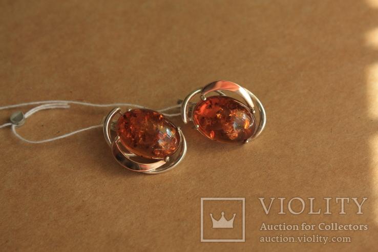 Серебряные серьги с янтарем и золотом, фото №5
