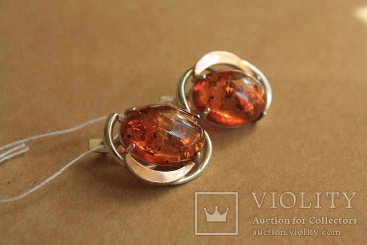 Серебряные серьги с янтарем и золотом, фото №2