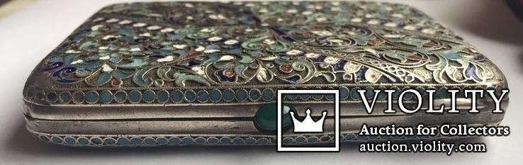 Портсигар серебряный, 84 пробы, многоцветные Эмали., фото №3